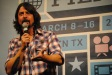 "Foo Fighters frontman Dave Grohl addresses the audience after a screening of his documentary ""Sound City"" at The Paramount Theater."