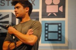 "Zac Efron addresses the audience after a screening of his movie ""At Any Price"" at The Paramount Theater."