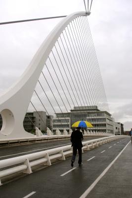 Samuel Beckett harp bridge in South Dublin