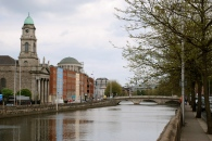 Walking the quays along the River Liffey in Central Dublin