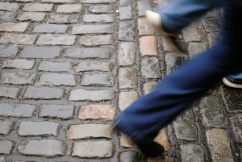Cobbled streets in the Temple Bar District in Central Dublin